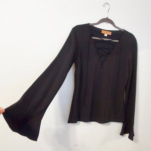 Black Wool Witchy Front Lace Top w/ Bell Sleeves